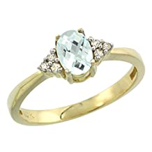 10K Yellow Gold Natural Aquamarine Ring Oval 6x4mm Diamond Accent, sizes 5-10