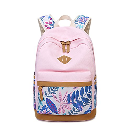 Style Backpack theft Bag Pink Student Anti Leaf Women Travel Girls Laptop Pattern Lightweight Teenagers Canvas Preppy School GUBENM College Fashion Bag Backpack Boys qUFt5O