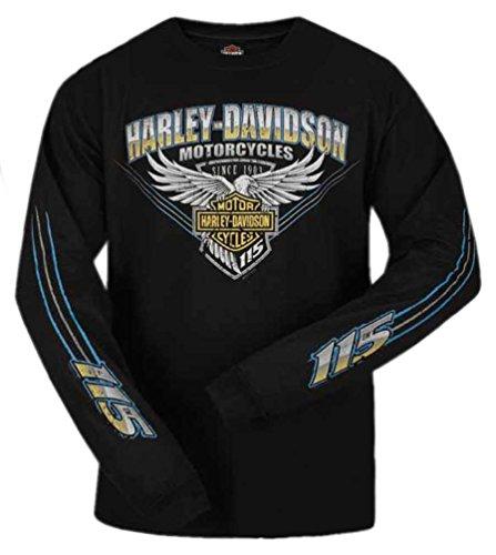 Harley-Davidson Men's 115th Anniversary Stripe Long Sleeve Shirt, Black (2XL) (Stripes Anniversary)
