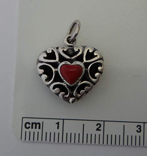(Sterling Silver 17x16x8mm Reversible Red & Black Stone Heart Charm Jewelry Making Supply, Pendant, Sterling Charm, Bracelet, Beads, DIY Crafting and Other by Wholesale Charms)