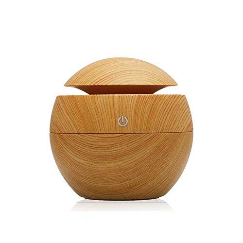 Morrivoe 130mL Wood Grain Humidifier, Air Purify,Portable Ultrasonic Mini Cool Mist Humidifier for Home, Office, Bedroom Room, Study, Yoga , Beauty Salon (M-BR)