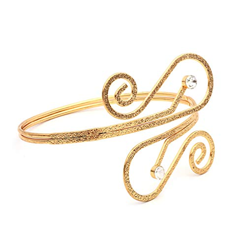 OCTCHOCO Arm Cuff Jewelry for Women Simple Adjustable Arm Bracelet Upper Armband Bangle Rhinestone Armlet (Gold)
