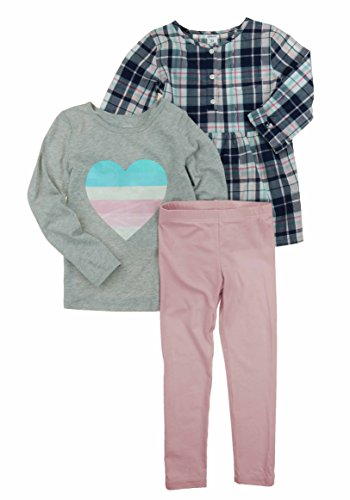 Carters Toddler Girls 3 Piece Matching Outfit Kids Set-2 Tops, 1 Pant Bottom (2T, (10) Navy/Light/Pink) (2 Piece Set Carters Outfit)