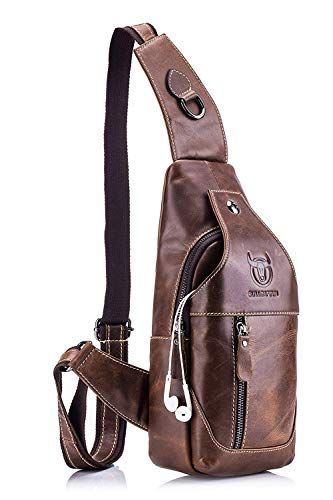 (BULLCAPTAIN Men's Sling Bag Genuine Leather Chest Shoulder Backpack Cross Body Purse Water Resistant Anti Theft for Travel Hiking School)