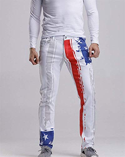 Adelina A Jeans Ufig Dritta Pantaloni Denim Casual Stampata Stampato Abbigliamento Uomo Bianca Gamba In Da Retro wwrzvq4