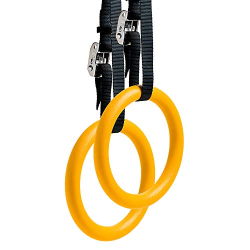 REEHUT Gymnastic Rings W/Adjustable Straps, Metal Buckles & Manual - Home Gym (Set of 2) - Non-Slip - Great for Workout, Strength Training, Fitness, Pull Ups and Dips, Ebook Included