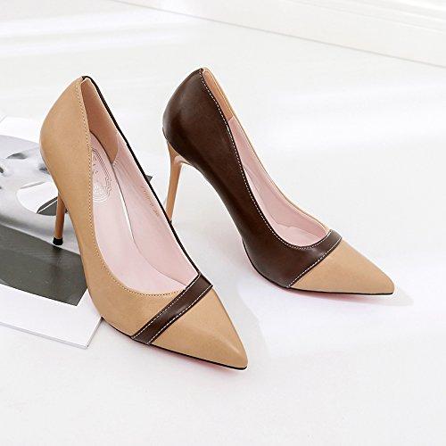 Xue Qiqi zapatos de tacón alto chica punta fina fina fina con el salvaje solo zapatos corrector de color blanco y negro luz de zapatos de mujer,38, Marrón 10cm fe35e9