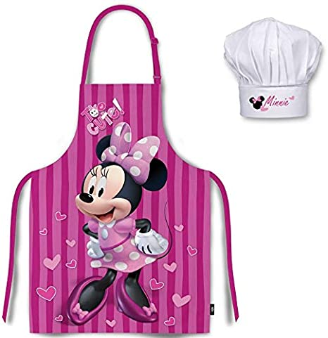 Mgs33 Tablier Enfant Rose Fuschia Chapeau De Chef Minnie Minnie