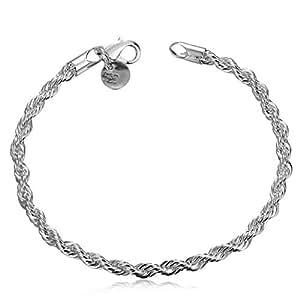 Silver Plated Bracelets for Women Bracelet Twisted Rope Bangle Silver 925 Sterling