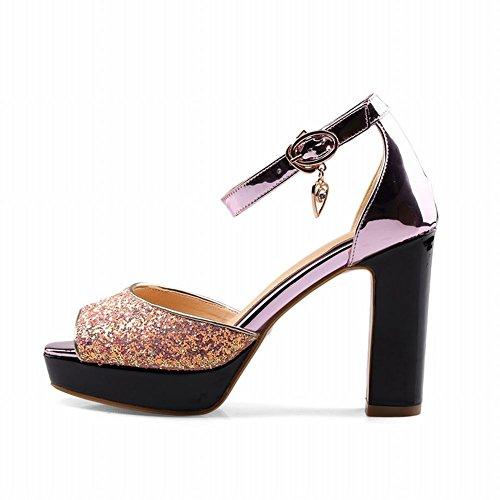 Mee Shoes Damen Peep toe Blockabsatz Pailletten Sandalen Pink
