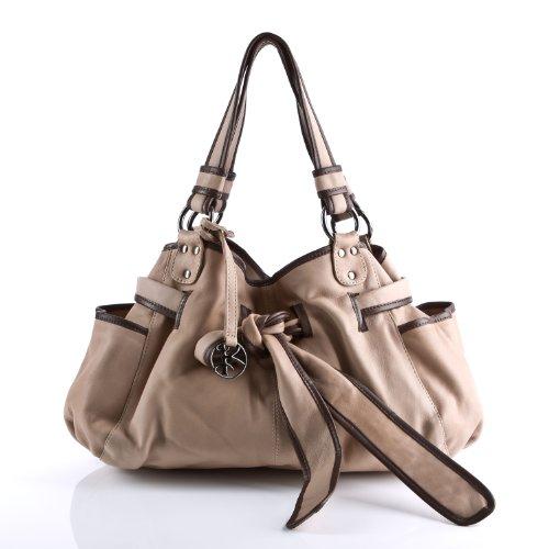 BACCINI borsa a spalla BOW - sacchetto - borse a tracolla - borse a secchiello donna vera pelle beige - cammello (42 x 30 x 10 cm)