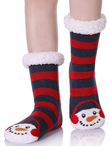 (YEBING Women's Cute Knit Cartoon Animal Face Soft Warm Fuzzy Fleece Lining Winter Home Slipper Socks (Stripe Snowman) )