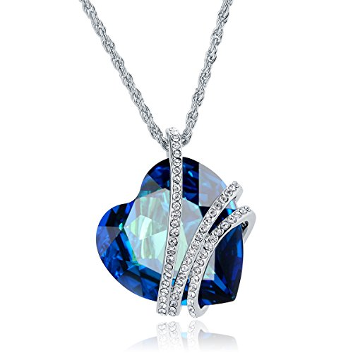 Heart Of The Ocean  Blue Heart Pendant Necklace Made With Swarovski Crystals