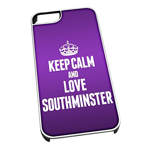 Bianco cover per iPhone 5/5S 0593 viola Keep Calm and Love Southminster