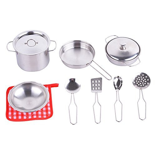 Sakiyr Metal Pots and Pans Kitchen Cookware Playset for Kids with Cooking Utensils Set