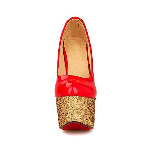 Toe toe Amoonyfashion calzature Con Tacchi Donne Paillette Rosso Pompe Round Chiuso wqPIS