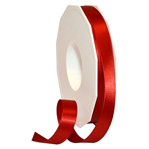 Morex Ribbon 08816/50-250 Double Face Satin Polyester Ribbon, 5/8-Inch by 50-Yard, Red