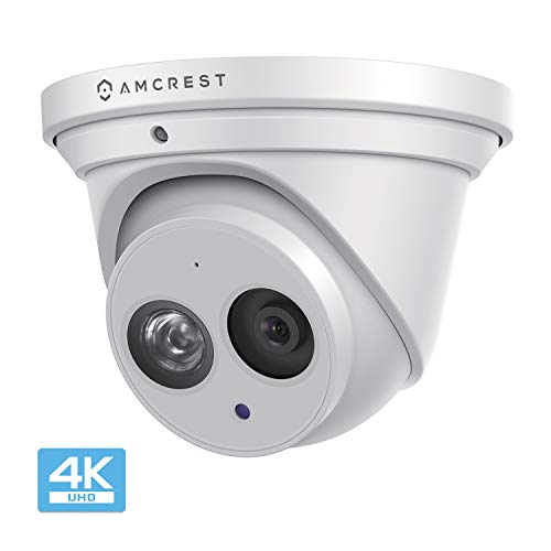 (Amcrest UltraHD 4K (8MP) Outdoor Security IP Turret PoE Camera, 3840x2160, 164ft NightVision, 2.8mm Lens, IP67 Weatherproof, MicroSD Recording (128GB), White (IP8M-T2499EW))