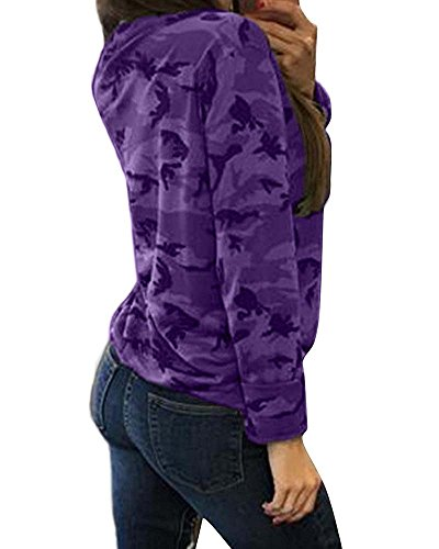 de Shirts Up Casual Loose manches Choker sexy Tops V Lace Blouses Violet femmes Camouflage Col longues AgqpSww