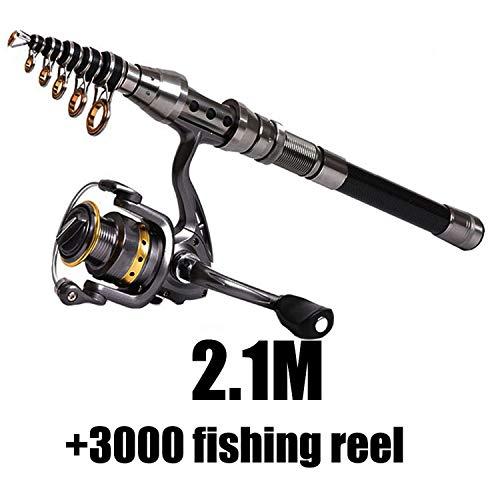 1.5M-2.4M Telescopic Fishing Rod Combo and Fishing Reel Full Kit Wheel Portable Travel Fishing Rod Spinning Fishing Rod Combo,Green ()