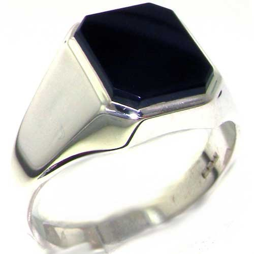 Gents Solid 925 Sterling Silver Natural Onyx Mens Signet Ring - Size 13 - Sizes 6 to 13 Available ()