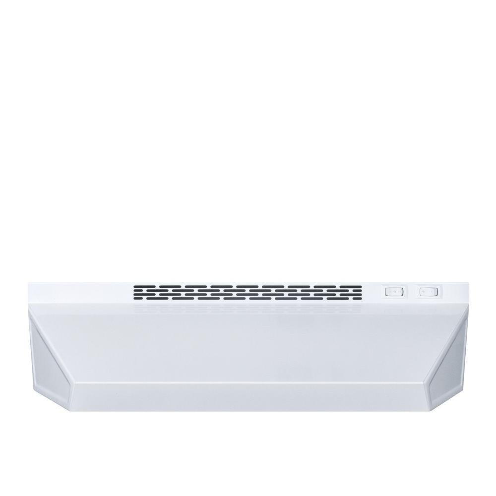 "Summit H1720W 20-Inch Wide Ductless Range Hood in White Finish; Include Two-speed Fan, Switchable Light, and Combination Aluminum-charcoal Filter; 5.0""H x 20.0""W x 18.0""D"