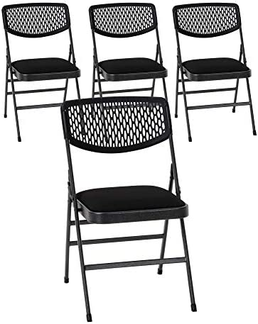 Cosco Commercial Fabric Folding Chair, 4 Pack, Black Fabric Hammertone Frame