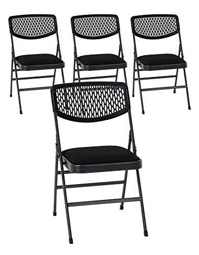 Cosco Commercial Fabric Folding Chair, 4 Pack, Black Fabric/Hammertone Frame (Best Folding Office Chair)