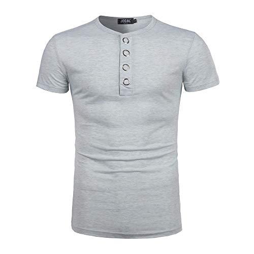 - Boomboom Men Shirts, 2018 Fashion Men Summer Button Blouse Short Sleeve Fit Shirt (XL, Gray)