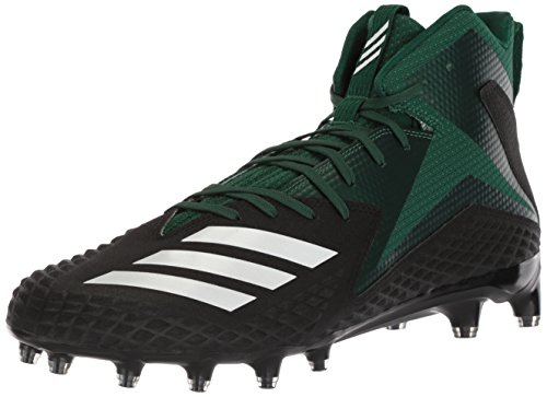 adidas Men's Freak X Carbon Mid Football Shoe, core Black/White/Dark Green, 10 M US (Best Football Shoes For Lineman)