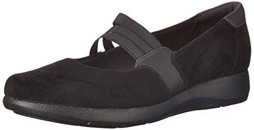 Clarks Idella Cate plana Black Suede/Leather