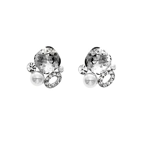 r Shadow Simulated Pearl Cluster Stud Earrings, Made with Swarovski Crystals ()