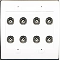 RiteAV 8 Port BNC Female/Female HD-SDI Jack Wall Plate - White