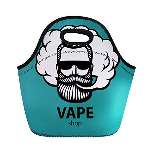 1641b4f78b8e Semtomn Lunch Tote Bag Aquamarine Hipster Dude Mustache and Beard Man Vape  Cloud Reusable Neoprene Insulated Thermal Outdoor Picnic Lunchbox for Men  ...