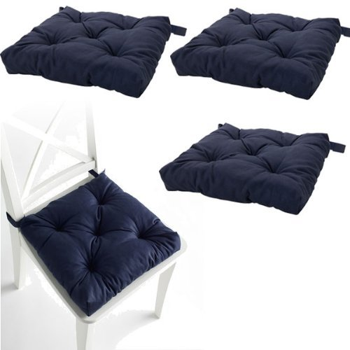 Set of 4 Navy Blue Chair Cushions Pads Machine Washable by I