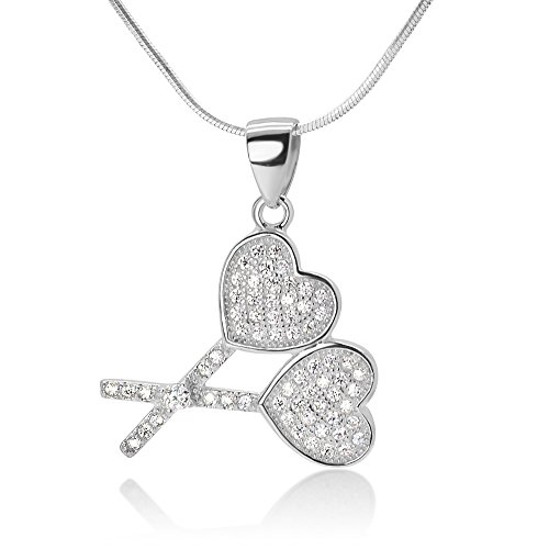 925 Sterling Silver Heart Shaped Double Lollipops Love CZ Rhinestone Pendant Necklace, 18 inches