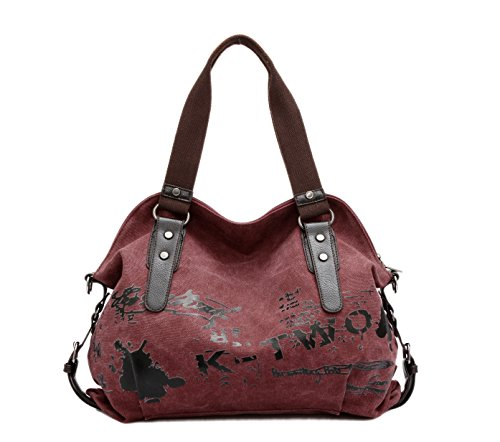 Chikencall Women Ladies Bags Casual Vintage Hobo Canvas Mulit-Pocket Daily Purse Messenger Top Handle Shoulder Large Tote Shopper Handbag Shopping Graffiti European Style Bags-Burgundy ()