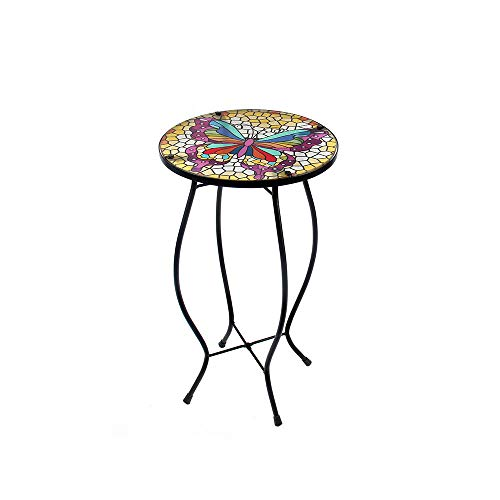 Liffy Butterfly Mosaic Outdoor Side Table Round Painted Glass Desk for Garden, Dining Room – 21.3 Inches High