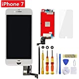 Screen Replacement iPhone 7 White 4.7 inch Retina LCD Screen Replacement 3D Touch Digitizer Frame Assembly Tempered Glass Screen Protector + Repair Tools + Instruction Brinonac