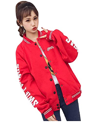 XINHEO Women's Stand Collar Button Down Coat Fall Winter Varsity Jackets Red