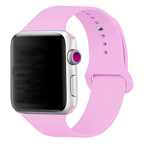 iMOMO [3 Pieces] Watch Band 38mm, Soft Silicone Sport iWatch Band [2 Lengths] Large/Small Wrist Strap Replacement for apple watch Models 38mm - Bright (2 Piece Apple)