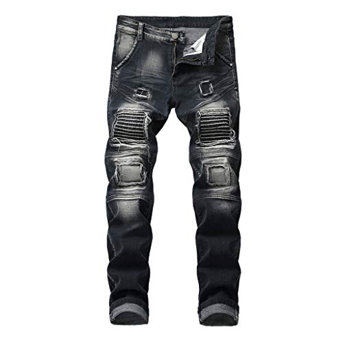 UOFOCO Fashion Elastic Personality Jeans Men's New Motorcycle Style Patchwork Denim Trousers