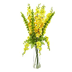 Silk Flowers -34 Inch Yellow Delphinium and Bell of Ireland Arrangement Artificial Flowers 116