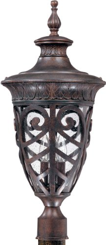 Nuvo 60-2060 (3 Light) Large Post Lantern – Dark Plum Bronze/Seeded Glass
