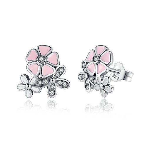 (BAMOER 925 Sterling Silver Poetic Daisy Cherry Blossom Earring Studs Pink Enamel with Clear CZ for)