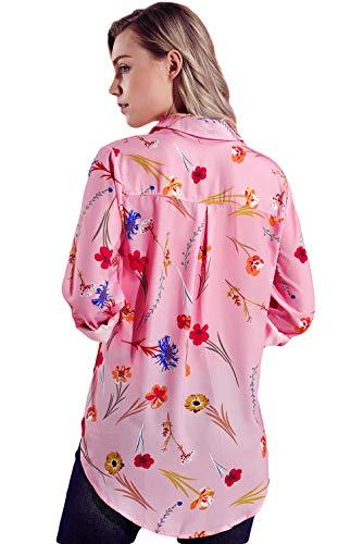 Col Chemise Longue Lukis Imprim Business Travail Manche Floral Femme Bouton Rose Polo Casual UInxT1n