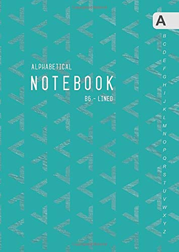 - Alphabetical Notebook B6: Lined-Journal Organizer Small with A-Z Tabs Printed | Geometric Arrow-Head Triangle Design Teal