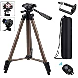 Eocean Tripod, 50-inch Video Tripod for Cellphone with iOS and Andriod System, Universal Tripod for Gopro and Camera with Wireless Remote, Compatible with iPhone X/8/8 Plus/Galaxy Note 9/S9/Google