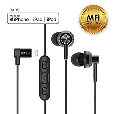 iDARS E305 Headphones, Apple MFi-Certified, In-Ear Lightning Earphone, Ergonomic Design Earbuds with Mic & Remote for iPhone 7, iPhone 7 Plus, iPhone 8, iPhone 8 Plus, iPhone X 4.0 out of 5