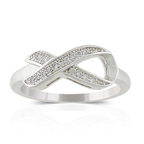 JanKuo Jewelry Rhodium Plated Micro Pave Cubic Zirconia Awareness Ribbon Ring (6)